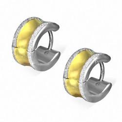 7mm |Boucles d'oreilles créoles Huggie à bord concave sablé et à 2 tons en acier inoxydable (paire)
