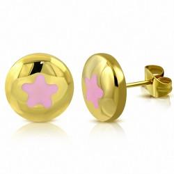 Boucles d'oreilles clous en forme d'étoile en émail rose pâle en acier inoxydable doré rose (paire)