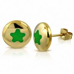 Boucles d'oreilles clous en forme d'étoile cercle émaillé vert clair en acier inoxydable doré (paire)