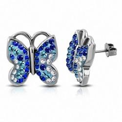 Boucles d'oreilles papillon en acier inoxydable avec papillon transparent / bleu capri CZ (la paire)