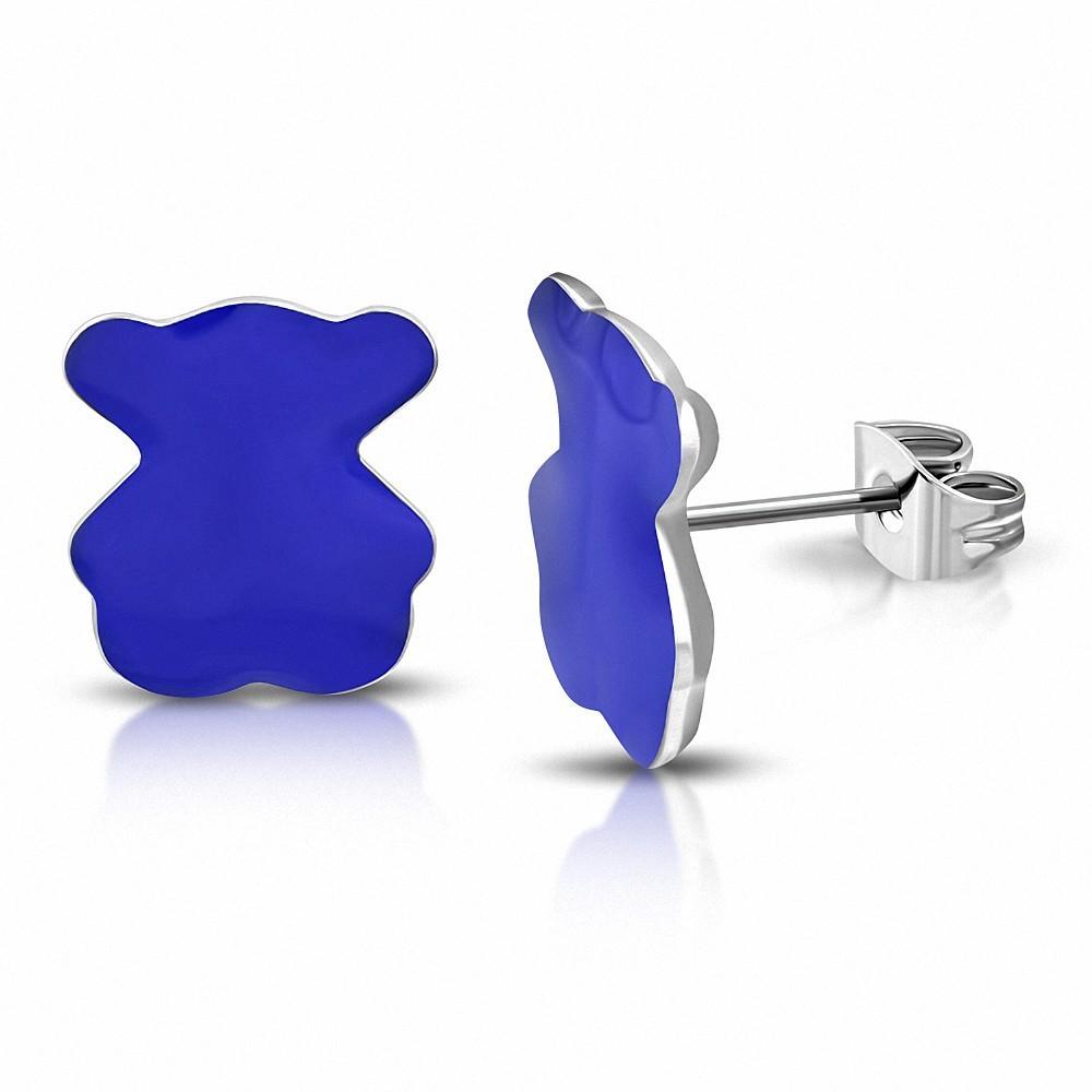 Boucles d'oreilles clous teddy-Bear  en acier inoxydable émaillé bleu (paire)