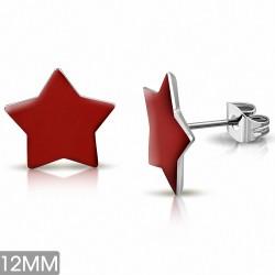 12mm  Boucles d'oreilles clous étoiles en acier inoxydable émaillé rouge (paire)