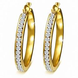 30mm |Boucles d'oreilles clip en étain avec anneau et anneau en acier inoxydable doré avec chaîne en acier inoxydable
