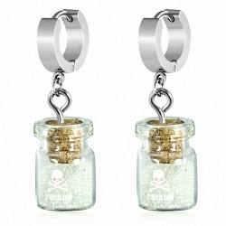 Boucles d'oreilles Huggie Drop en acier inoxydable avec bouteille en verre poison / jarre et paillettes (paire)