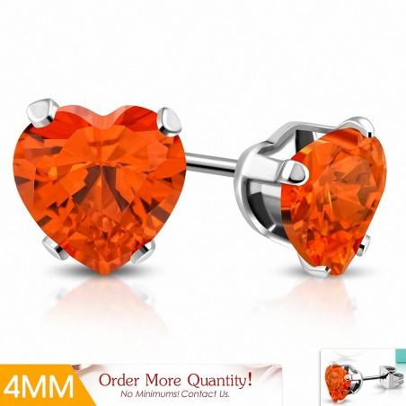 4mm  Boucles d'oreilles en forme de coeur en forme de coeur en acier inoxydable avec coeur en jacinthe orange CZ (paire)