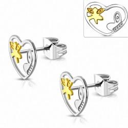 Boucles d'oreilles à coeur ouvert en forme de papillon en acier inoxydable à deux tons (paire)