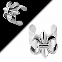 Boucle d'oreille supérieure en acier inoxydable avec manchette en fleur Fleur de Lis