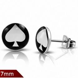 7mm |Boucles d'oreilles clous cercle de cartes à jouer en acier inoxydable à 3 tons (paire)