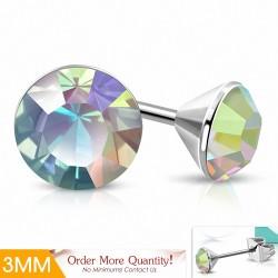 3mm |Boucles d'oreille rondes en acier inoxydable serti de cristaux et cristaux Stellux Aurore Boreale (paire)