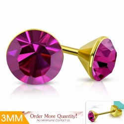 3mm |Boucles d'oreille rondes en acier inoxydable doré avec cristaux et cristaux roses rose Stellux (paire)