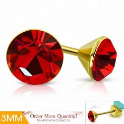 3mm |Boucles d'oreilles clous rondes doré avec cercle et cristaux