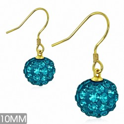 10mm |Boucles d'oreilles à crochet long Shamballa en acier inoxydable doré avec boucle Disco Ball avec Zircon bleu CZ (paire)