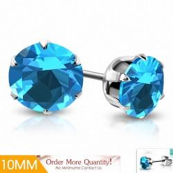 10mm |Boucles d'oreilles en acier inoxydable avec rondelles et goupilles en acier inoxydable avec CZ Bleu ciel / Aigue-marine