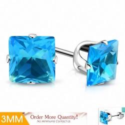3mm |Boucles d'oreilles carrées  acier inoxydable avec griffes bleu ciel / aigue-marine CZ (paire)