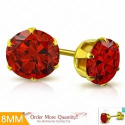 8mm |Boucles d'oreille rondes en acier inoxydable doré avec rondelles et clouss avec  Light Siam Red CZ (paire)