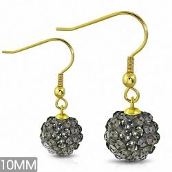10mm |Boucles d'oreilles à crochet long Shamballa en acier inoxydable doré avec boucle Disco Ball avec CZ gris (paire)