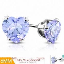 6mm |Boucles d'oreilles en forme de coeur en forme de coeur en acier inoxydable avec cœur violet / violet CZ (paire)
