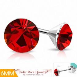 6mm  Boucles d'oreilles clous rondes en acier inoxydable serti de lunette sertie de rondelles et de jacinthes CZ (paire)