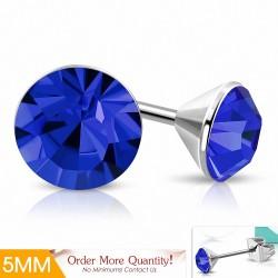 5mm |Boucles d'oreilles à cercle rond et serti de lunette en acier inoxydable avec capri bleu CZ (paire)