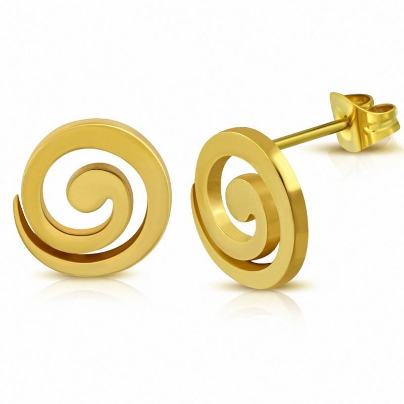 Cercle à spirale en acier inoxydable plaqué en couleur dorée (paire)