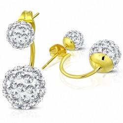 Boules Shamballa Argil Disco de 6 mm et de 10 mm avec CZ transparent |Boucles d'oreilles à double face en acier inoxydable doré