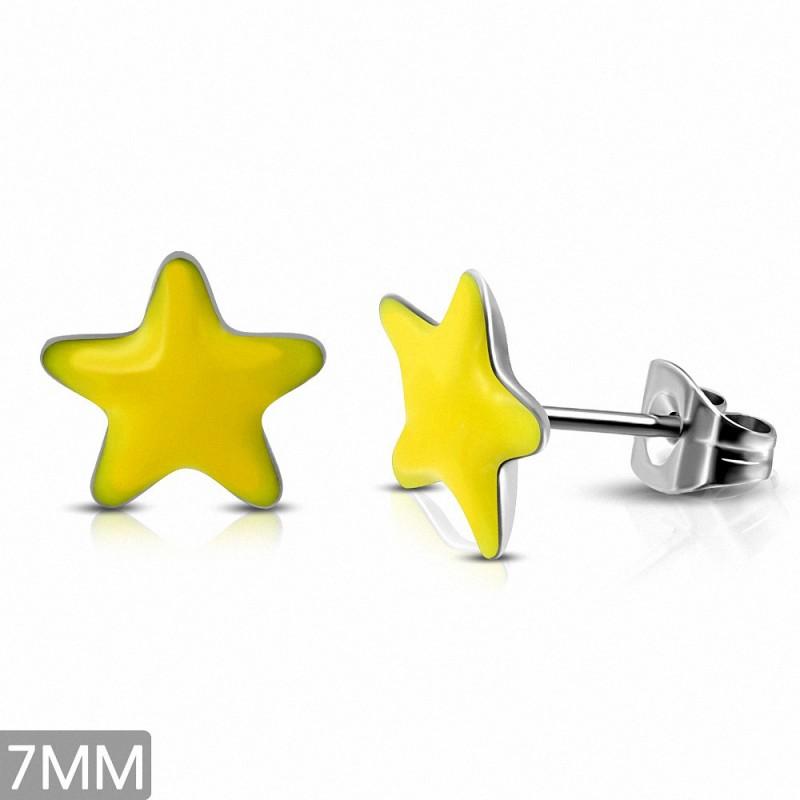 7mm |Boucles d'oreilles étoile jaune en acier inoxydable 2 tons (paire)