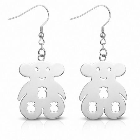Boucles d'oreilles à crochet long Teddy Bear en acier inoxydable (paire)