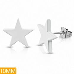 10mm |Boucles d'oreilles clous étoiles brillantes en acier inoxydable peint en blanc (paire)