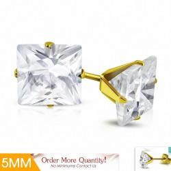 5mm  Boucles d'oreilles carrées en acier inoxydable doré avec plaqué de couleur d'or avec cZ transparent (paire)