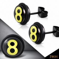 7mm |Boucles d'oreilles clous rondes de cercle de numéro 8 en acier inoxydable noir avec joints  (paire)