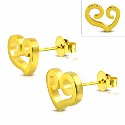 Boucles d'oreilles à coeur ouvert en forme de coeur en spirale en acier inoxydable plaqué en couleur d'or (paire)
