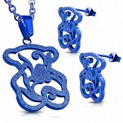 Fleur de vigne sablée bleue en acier inoxydable avec motif pendentif et paire de boucles d'oreilles (SET)