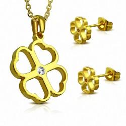 Pendentif en forme de breloque coeur en acier inoxydable doré avec paire de Boucles d'oreilles clous en or clair (SET)