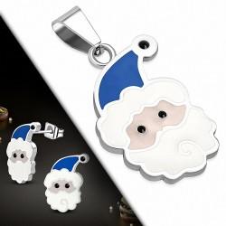Pendentif Père Noël et Paire de Boucles d'oreilles clous en acier inoxydable émaillés blanc et bleu