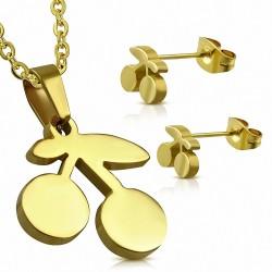Pendentif en acier inoxydable plaqué doré avec pendentif en forme de cerise et paire de Boucles d'oreilles clous