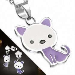 Pendentif avec chaton et chat en acier inoxydable émaillé avec pendentif fleur et boutons de fleurs (SET)