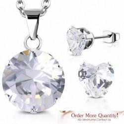 Collier à pendentif cercle en acier inoxydable avec pendentif cercle d'amour et pendentif cœur d'amour avec cZ transparent (SET)