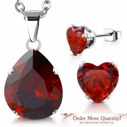 Collier à pendentif en forme de larme en acier inoxydable et paire de Boucles d'oreilles clous cœur d'amour zircon rouge
