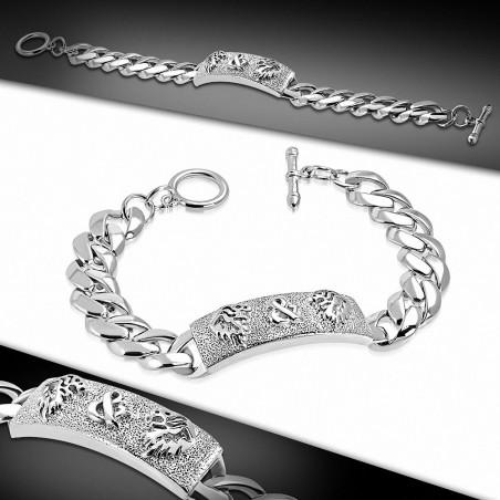 Bracelet à bascule de style montre en alliage de lion