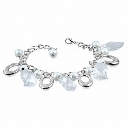 Bracelet en alliage à la mode en perles de verre blanches avec perles et breloques ovales