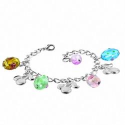 Alliage de mode bracelet en perles de verre coloré fleur charm cerise lien