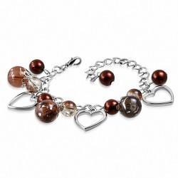 Alliage de mode brun perle de verre perle en forme de larme ouvert bracelet de lien de charm d'amour de coeur