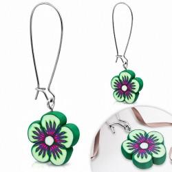 Boucles d'oreilles pendantes en alliage fashion en alliage fimo / polymère pâte marguerite à fleurs (paire)