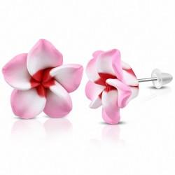 16mm |Boucles d'oreilles à la mode en forme de fleur de Fimo / Polymère avec Plumeria (paire) - FEO059
