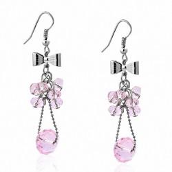 Boucle d'oreille crochet en alliage à la mode avec perle rose et perles de culture (paire)