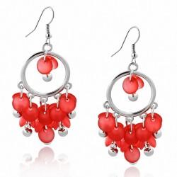 Boucles d'oreilles en crochet avec perles rouges à la mode en alliage fantaisie (paire)