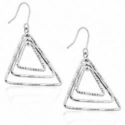 Boucles d'oreilles à crochet de mode en forme de triangle de concentriques de cuivre et de platine plaqué (paire)