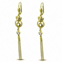Boucles d'oreilles fantaisie en argent plaqué de couleur fantaisie avec cœur en forme de cuivre doré et de cristaux CZ (paire)