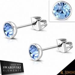4.3mm  Boucles d'oreilles avec cercle serti de lunette en acier inoxydable et cristaux de  Light Saphir (paire)
