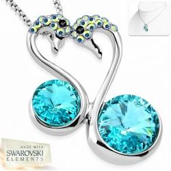 Alliage avec or blanc plaqué amour collier de charm couple Swan coeur  aigue-marine cristaux
